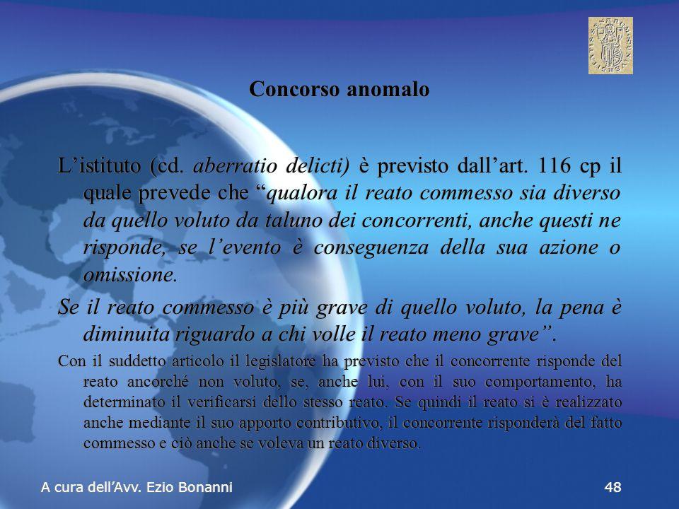 Concorso anomalo L'istituto (cd. aberratio delicti) è previsto dall'art.