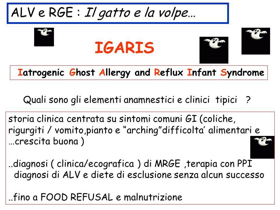 ALV e RGE : Il gatto e la volpe… IGARIS Ghost Allergy and Reflux Infant Syndrome Quali sono gli elementi anamnestici e clinici tipici ? storia clinica