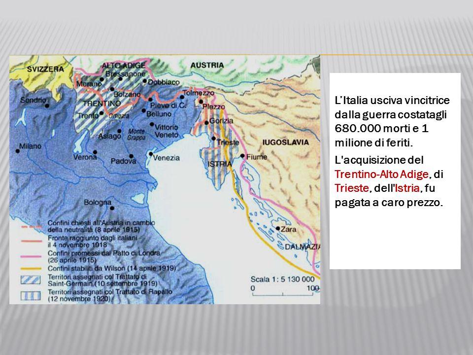 L'Italia usciva vincitrice dalla guerra costatagli 680.000 morti e 1 milione di feriti. L'acquisizione del Trentino-Alto Adige, di Trieste, dell'Istri