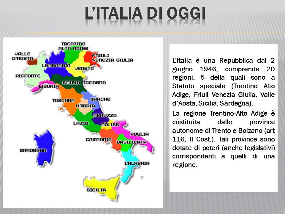 L'Italia è una Repubblica dal 2 giugno 1946, comprende 20 regioni, 5 della quali sono a Statuto speciale (Trentino Alto Adige, Friuli Venezia Giulia,