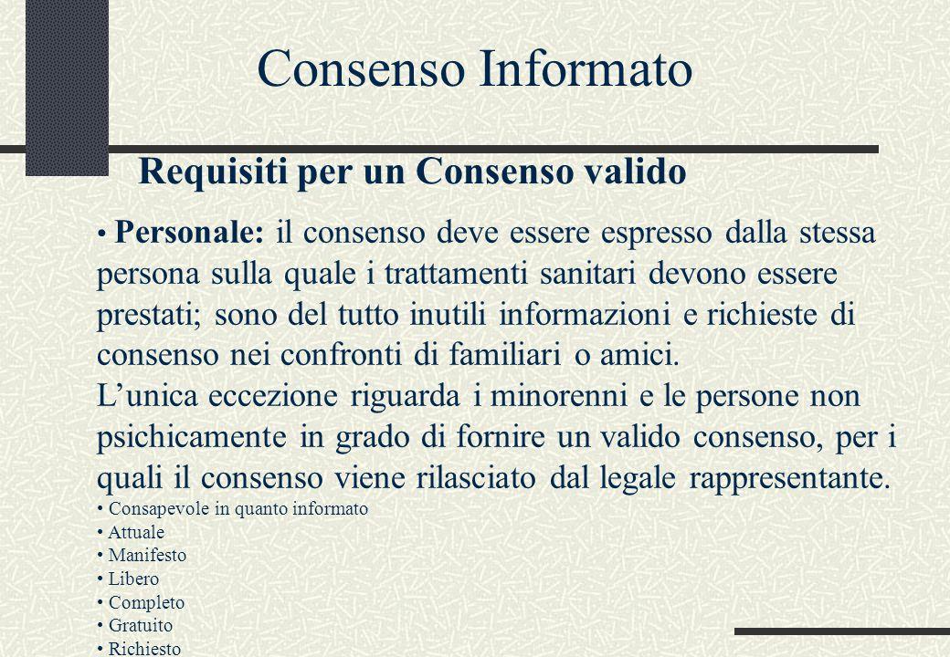 Personale: il consenso deve essere espresso dalla stessa persona sulla quale i trattamenti sanitari devono essere prestati; sono del tutto inutili inf