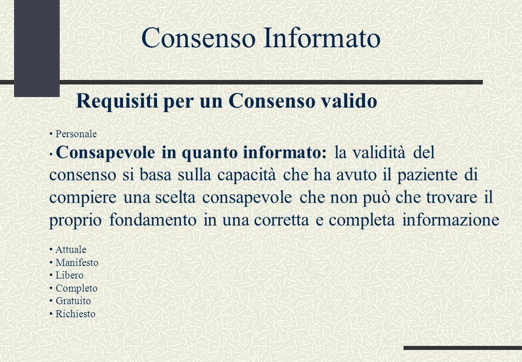 Personale Consapevole in quanto informato: la validità del consenso si basa sulla capacità che ha avuto il paziente di compiere una scelta consapevole che non può che trovare il proprio fondamento in una corretta e completa informazione Attuale Manifesto Libero Completo Gratuito Richiesto Consenso Informato Requisiti per un Consenso valido