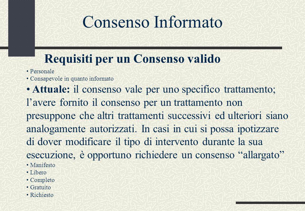 Personale Consapevole in quanto informato Attuale: il consenso vale per uno specifico trattamento; l'avere fornito il consenso per un trattamento non