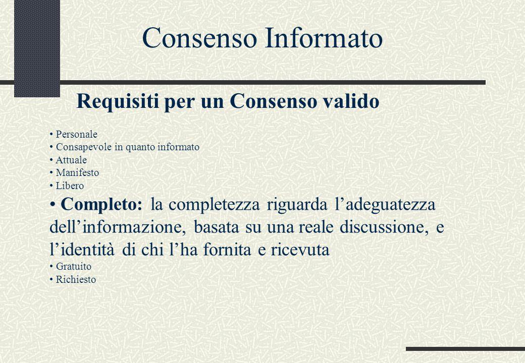 Personale Consapevole in quanto informato Attuale Manifesto Libero Completo: la completezza riguarda l'adeguatezza dell'informazione, basata su una reale discussione, e l'identità di chi l'ha fornita e ricevuta Gratuito Richiesto Consenso Informato Requisiti per un Consenso valido