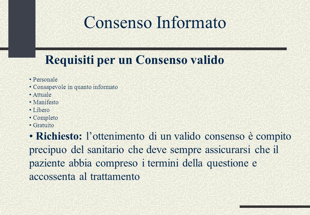 Personale Consapevole in quanto informato Attuale Manifesto Libero Completo Gratuito Richiesto: l'ottenimento di un valido consenso è compito precipuo