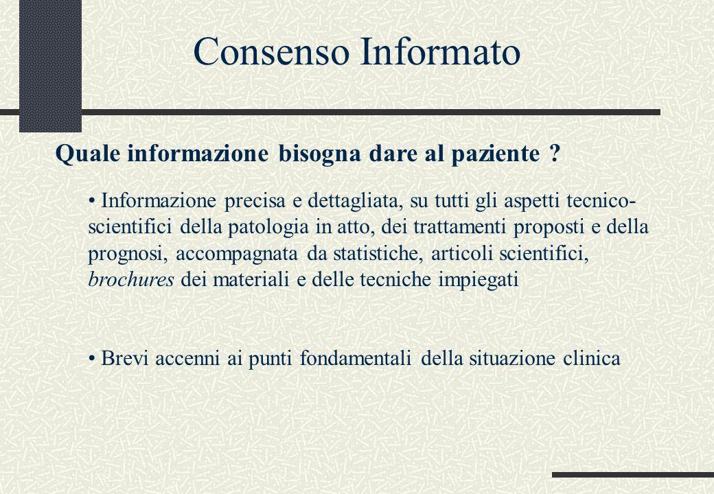 Quale informazione bisogna dare al paziente ? Informazione precisa e dettagliata, su tutti gli aspetti tecnico- scientifici della patologia in atto, d