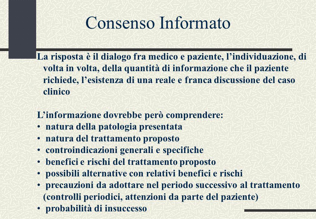 La risposta è il dialogo fra medico e paziente, l'individuazione, di volta in volta, della quantità di informazione che il paziente richiede, l'esiste