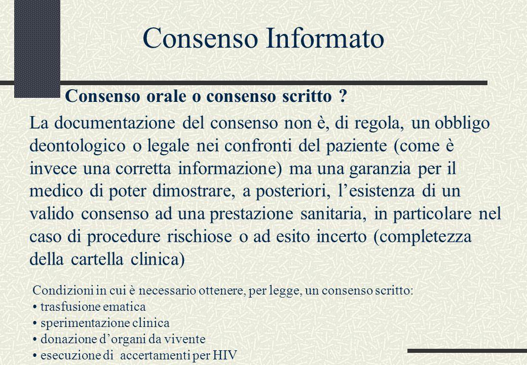 Consenso orale o consenso scritto ? La documentazione del consenso non è, di regola, un obbligo deontologico o legale nei confronti del paziente (come