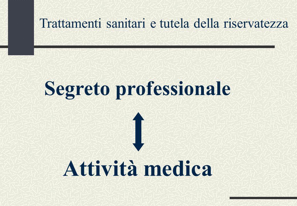 Trattamenti sanitari e tutela della riservatezza Segreto professionale Attività medica