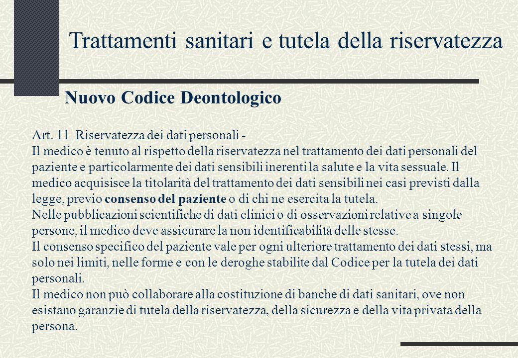 Trattamenti sanitari e tutela della riservatezza Nuovo Codice Deontologico Art. 11 Riservatezza dei dati personali - Il medico è tenuto al rispetto de