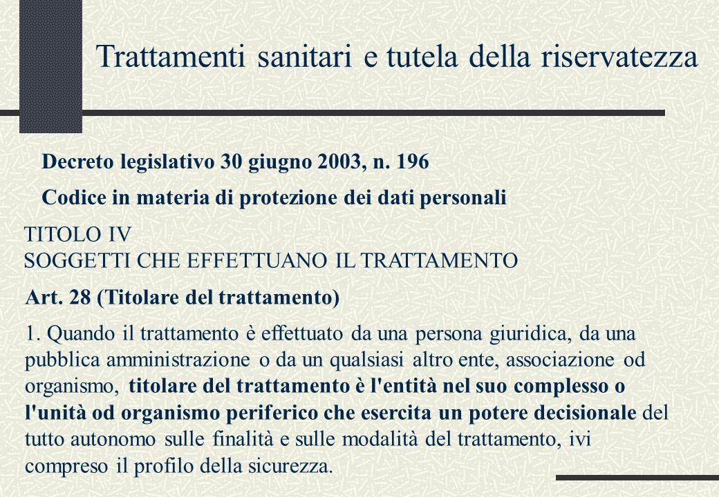 Art. 28 (Titolare del trattamento) 1. Quando il trattamento è effettuato da una persona giuridica, da una pubblica amministrazione o da un qualsiasi a