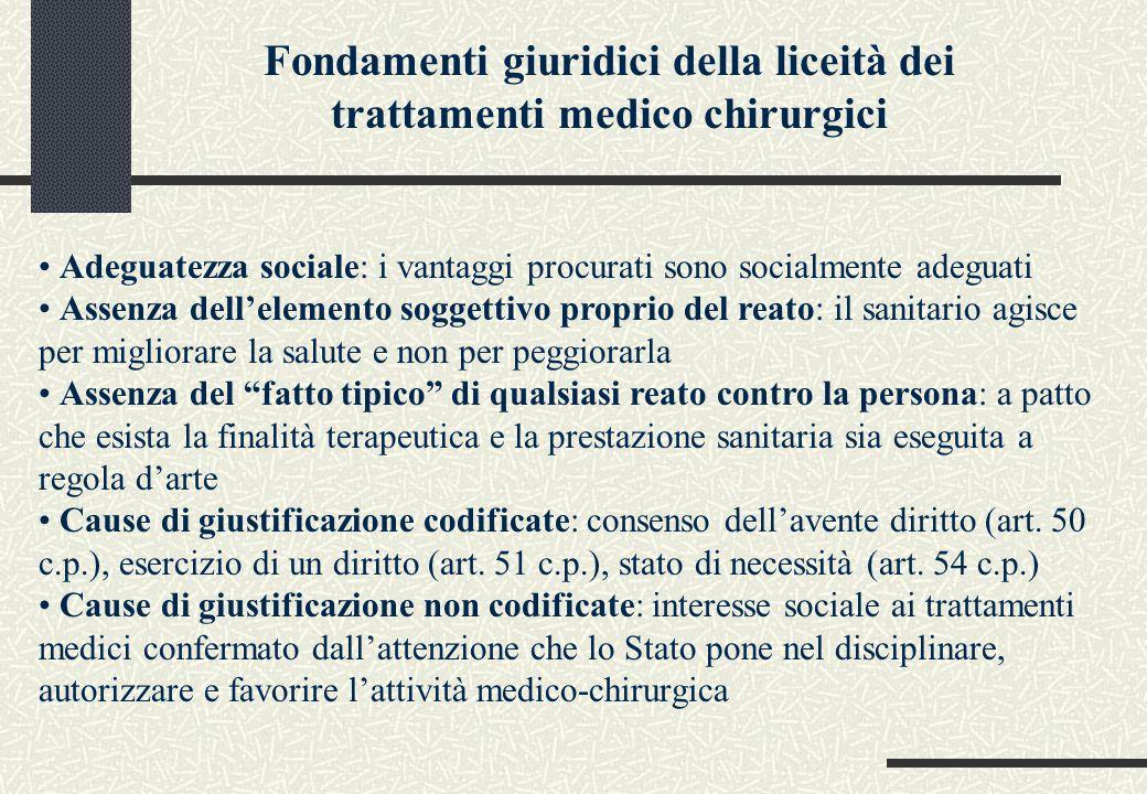 Fondamenti giuridici della liceità dei trattamenti medico chirurgici Adeguatezza sociale: i vantaggi procurati sono socialmente adeguati Assenza dell'