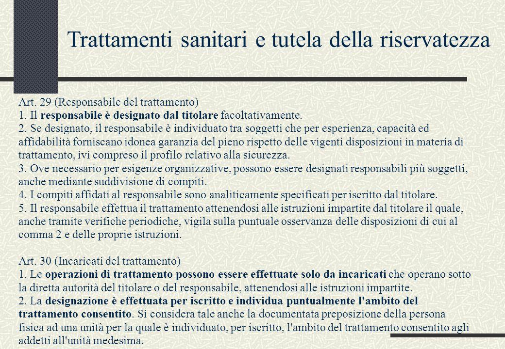 Art. 29 (Responsabile del trattamento) 1. Il responsabile è designato dal titolare facoltativamente. 2. Se designato, il responsabile è individuato tr