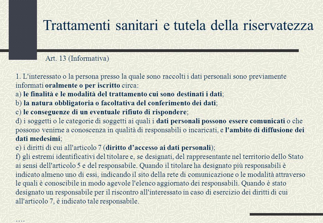 Art. 13 (Informativa) 1. L'interessato o la persona presso la quale sono raccolti i dati personali sono previamente informati oralmente o per iscritto