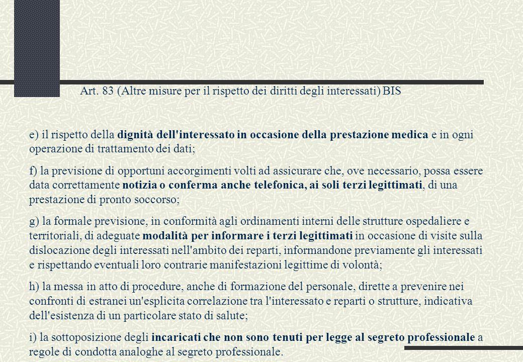 Art. 83 (Altre misure per il rispetto dei diritti degli interessati) BIS e) il rispetto della dignità dell'interessato in occasione della prestazione