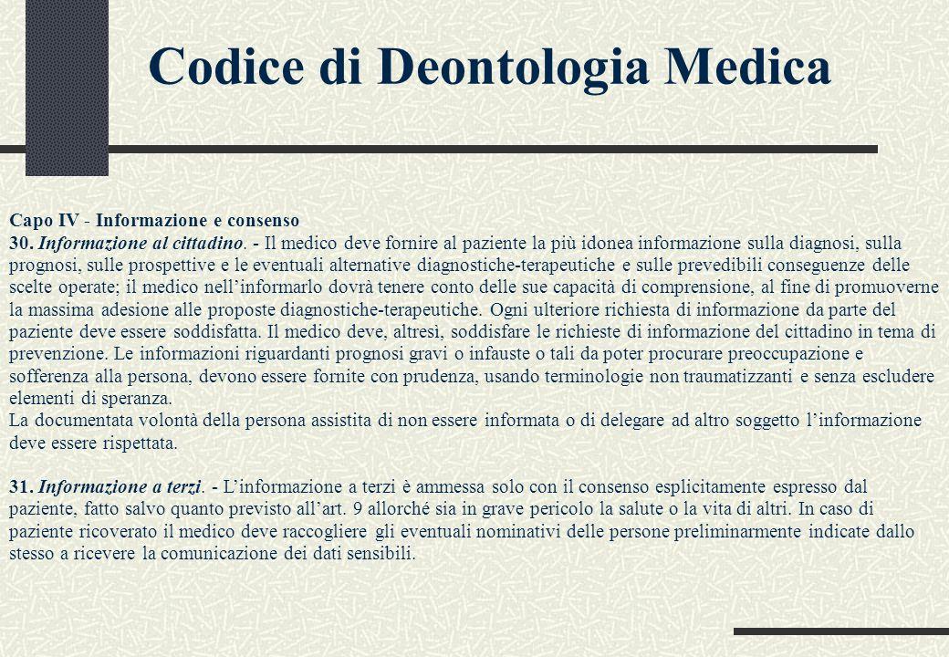 Codice di Deontologia Medica Capo IV - Informazione e consenso 30. Informazione al cittadino. - Il medico deve fornire al paziente la più idonea infor