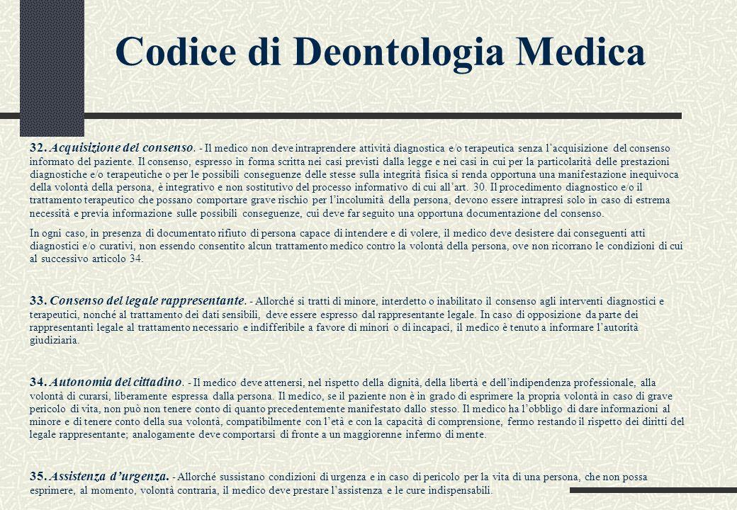 32. Acquisizione del consenso. - Il medico non deve intraprendere attività diagnostica e/o terapeutica senza l'acquisizione del consenso informato del