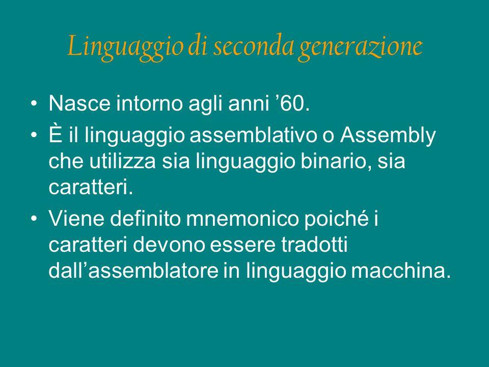 Linguaggio di seconda generazione Nasce intorno agli anni '60.