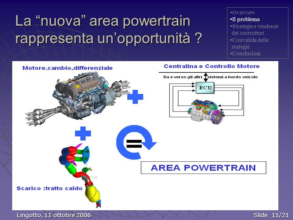 La nuova area powertrain rappresenta un'opportunità .