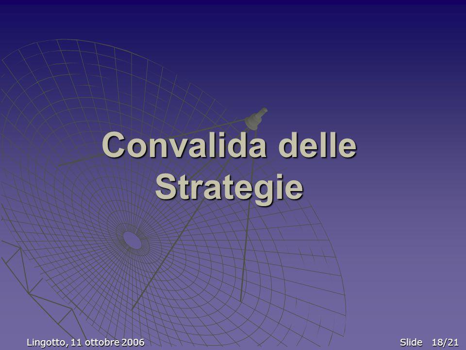 Convalida delle Strategie Lingotto, 11 ottobre 2006 Slide 18/21 Lingotto, 11 ottobre 2006 Slide 18/21