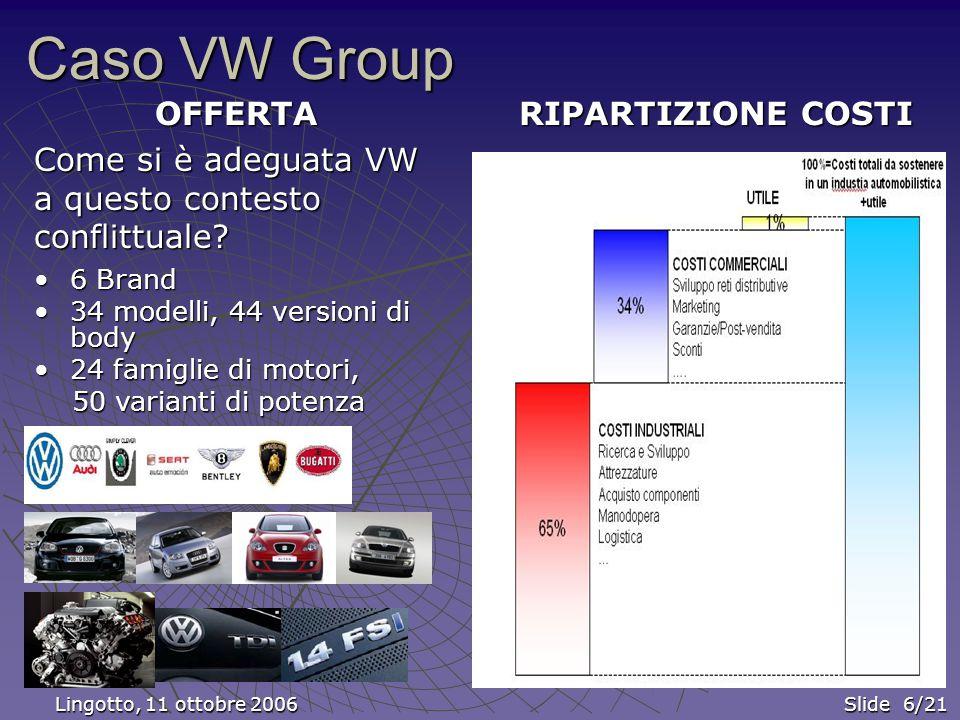 Caso VW Group OFFERTA Come si è adeguata VW a questo contesto conflittuale.