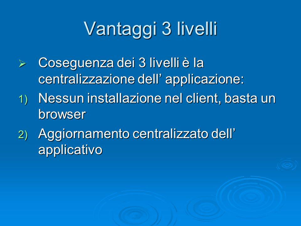 Vantaggi 3 livelli  Coseguenza dei 3 livelli è la centralizzazione dell' applicazione: 1) Nessun installazione nel client, basta un browser 2) Aggiornamento centralizzato dell' applicativo