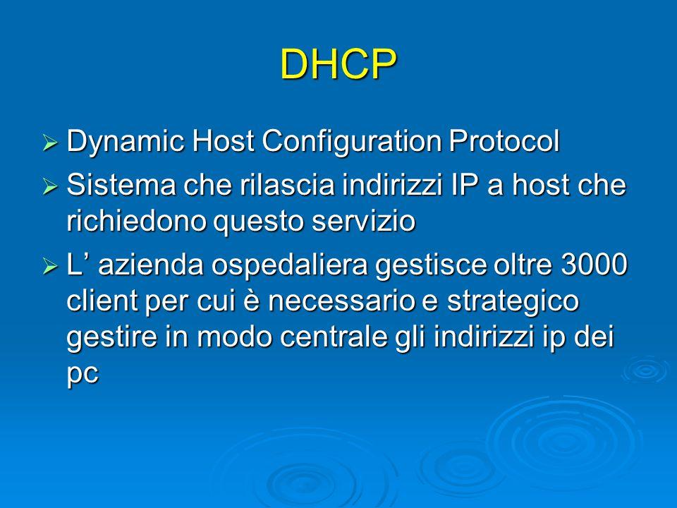 DHCP  Dynamic Host Configuration Protocol  Sistema che rilascia indirizzi IP a host che richiedono questo servizio  L' azienda ospedaliera gestisce oltre 3000 client per cui è necessario e strategico gestire in modo centrale gli indirizzi ip dei pc