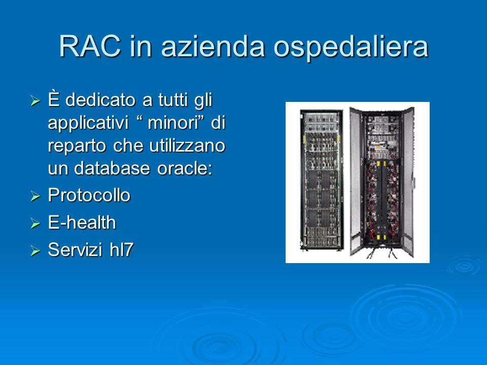 RAC in azienda ospedaliera  È dedicato a tutti gli applicativi minori di reparto che utilizzano un database oracle:  Protocollo  E-health  Servizi hl7