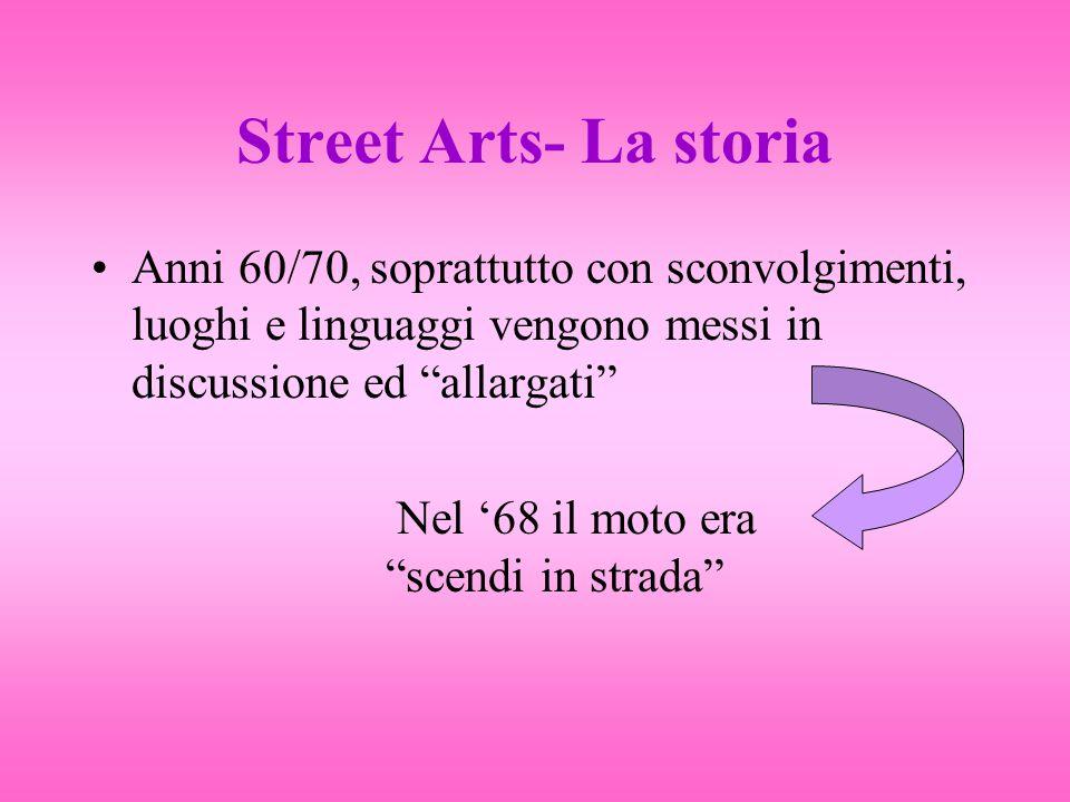 La storia (2) La Strada diventa lo spazio comune dove tutti possono esteriorizzare il proprio militarismo politico Anni 80 l'ordine viene ristabilito e con esso lo spazio Gli artisti che restano in strada fondano una propria identità e creano la base per quelle oggi chiamate arti di strada