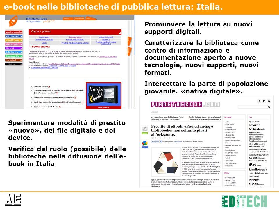 e-book nelle biblioteche di pubblica lettura: Italia.