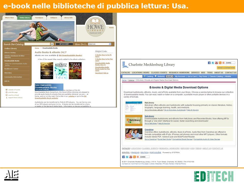 e-book nelle biblioteche di pubblica lettura: Usa.
