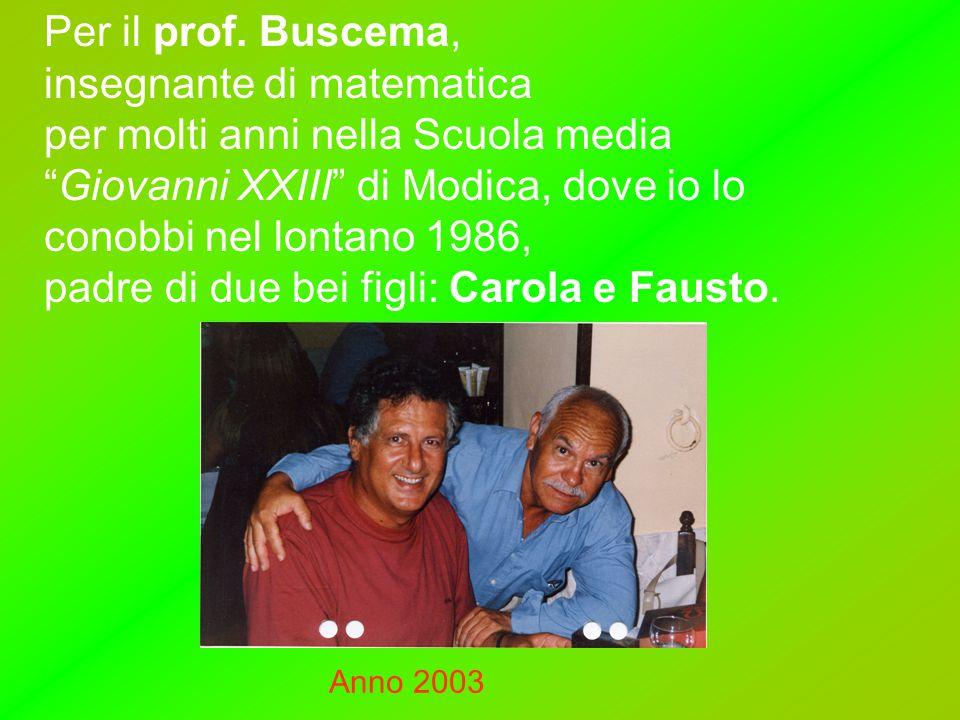 """Per il prof. Buscema, insegnante di matematica per molti anni nella Scuola media """"Giovanni XXIII"""" di Modica, dove io lo conobbi nel lontano 1986, padr"""