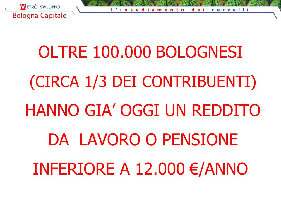 OLTRE 100.000 BOLOGNESI (CIRCA 1/3 DEI CONTRIBUENTI) HANNO GIA' OGGI UN REDDITO DA LAVORO O PENSIONE INFERIORE A 12.000 €/ANNO