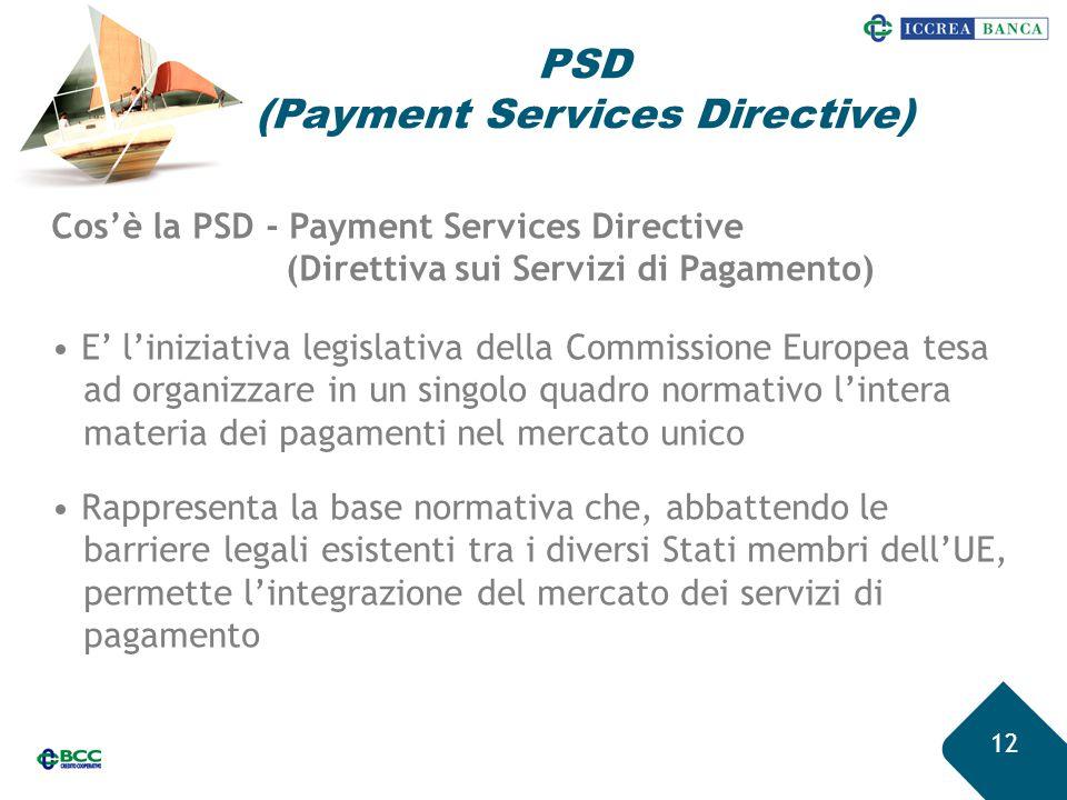 PSD (Payment Services Directive) 12 Cos'è la PSD - Payment Services Directive (Direttiva sui Servizi di Pagamento) E' l'iniziativa legislativa della C