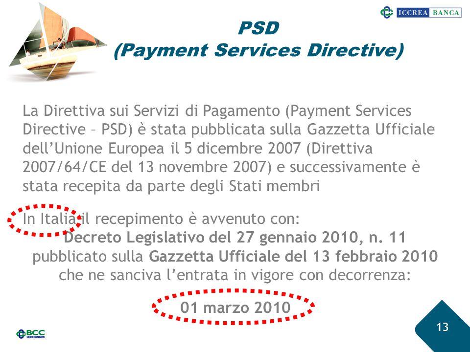 13 La Direttiva sui Servizi di Pagamento (Payment Services Directive – PSD) è stata pubblicata sulla Gazzetta Ufficiale dell'Unione Europea il 5 dicem
