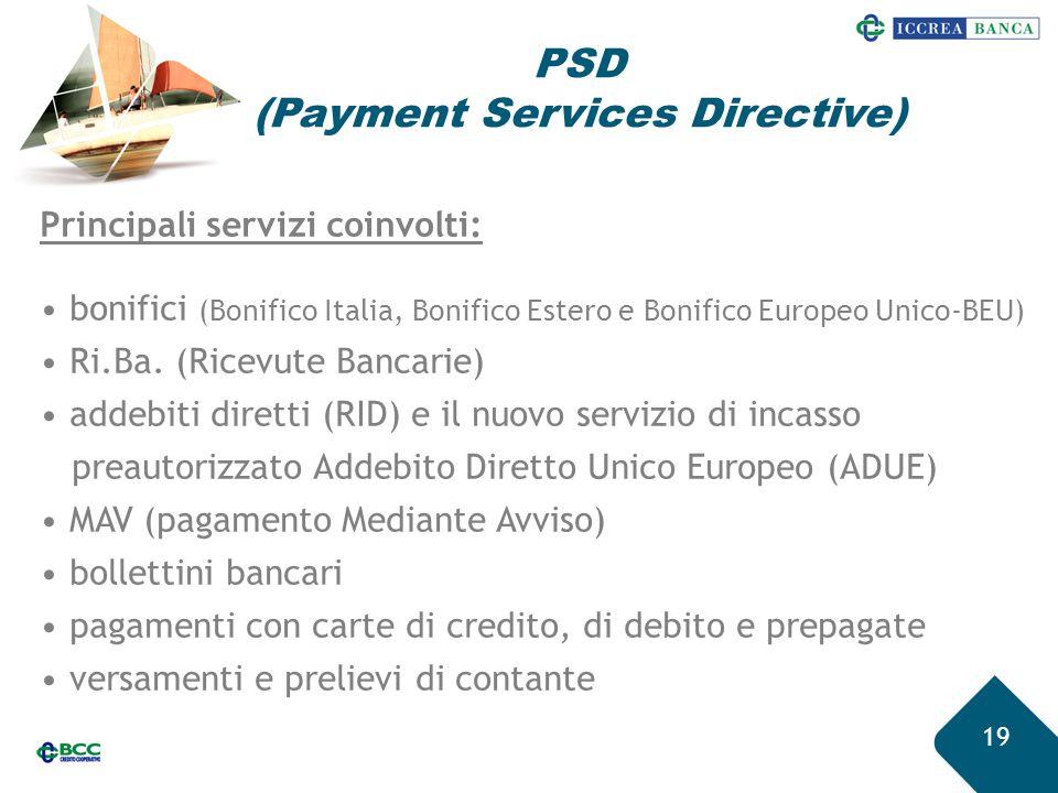 19 Principali servizi coinvolti: bonifici (Bonifico Italia, Bonifico Estero e Bonifico Europeo Unico-BEU) Ri.Ba. (Ricevute Bancarie) addebiti diretti