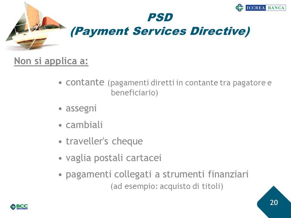 20 Non si applica a: contante (pagamenti diretti in contante tra pagatore e beneficiario) assegni cambiali traveller's cheque vaglia postali cartacei