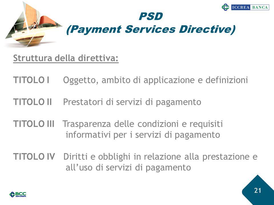 21 Struttura della direttiva: TITOLO I Oggetto, ambito di applicazione e definizioni TITOLO II Prestatori di servizi di pagamento TITOLO III Trasparen