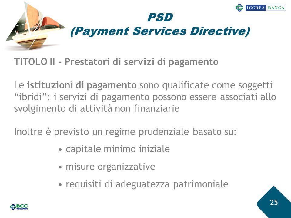 """25 TITOLO II - Prestatori di servizi di pagamento Le istituzioni di pagamento sono qualificate come soggetti """"ibridi"""": i servizi di pagamento possono"""