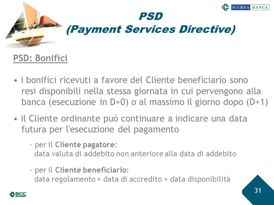 31 PSD: Bonifici i bonifici ricevuti a favore del Cliente beneficiario sono resi disponibili nella stessa giornata in cui pervengono alla banca (esecu