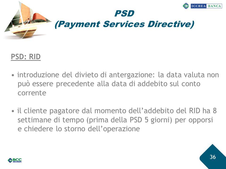 36 PSD: RID introduzione del divieto di antergazione: la data valuta non può essere precedente alla data di addebito sul conto corrente il cliente pag