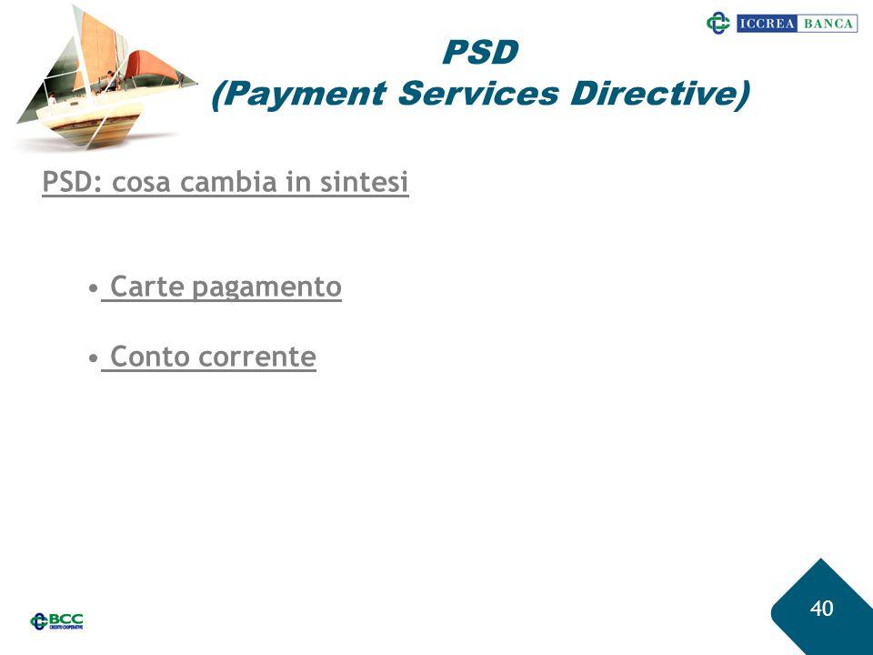 40 PSD (Payment Services Directive) PSD: cosa cambia in sintesi Carte pagamento Conto corrente