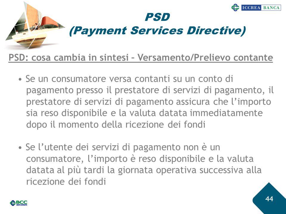 44 PSD (Payment Services Directive) PSD: cosa cambia in sintesi – Versamento/Prelievo contante Se un consumatore versa contanti su un conto di pagamen