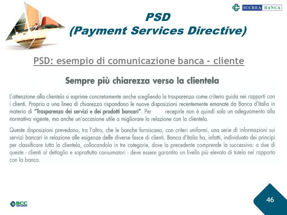 46 PSD (Payment Services Directive) PSD: esempio di comunicazione banca - cliente