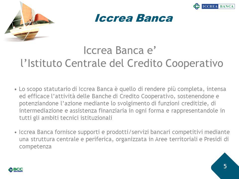 Iccrea Banca 5 Lo scopo statutario di Iccrea Banca è quello di rendere più completa, intensa ed efficace l'attività delle Banche di Credito Cooperativ