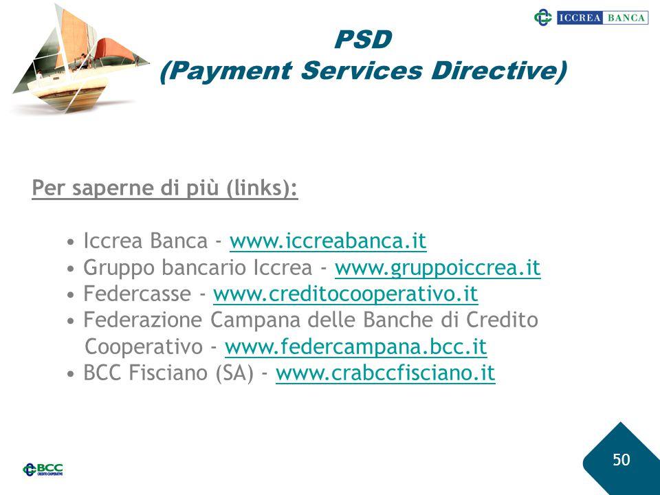 50 Per saperne di più (links): Iccrea Banca - www.iccreabanca.itwww.iccreabanca.it Gruppo bancario Iccrea - www.gruppoiccrea.itwww.gruppoiccrea.it Fed
