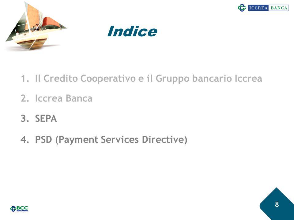 Indice 8 1.Il Credito Cooperativo e il Gruppo bancario Iccrea 2.Iccrea Banca 3.SEPA 4.PSD (Payment Services Directive)