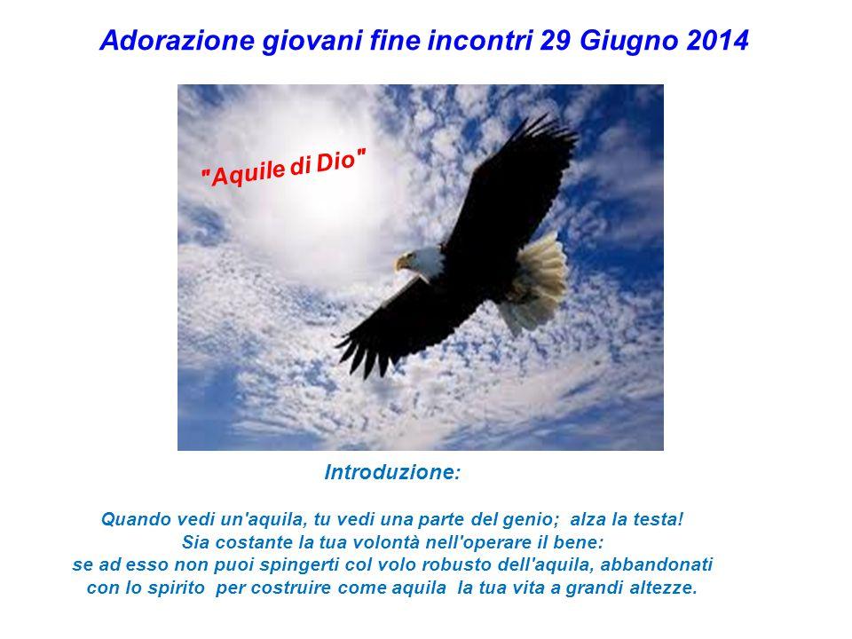 Adorazione giovani fine incontri 29 Giugno 2014 Aquile di Dio Introduzione: Quando vedi un aquila, tu vedi una parte del genio; alza la testa.
