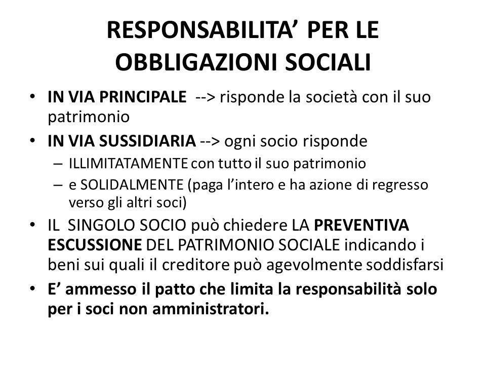 RESPONSABILITA' PER LE OBBLIGAZIONI SOCIALI IN VIA PRINCIPALE --> risponde la società con il suo patrimonio IN VIA SUSSIDIARIA --> ogni socio risponde