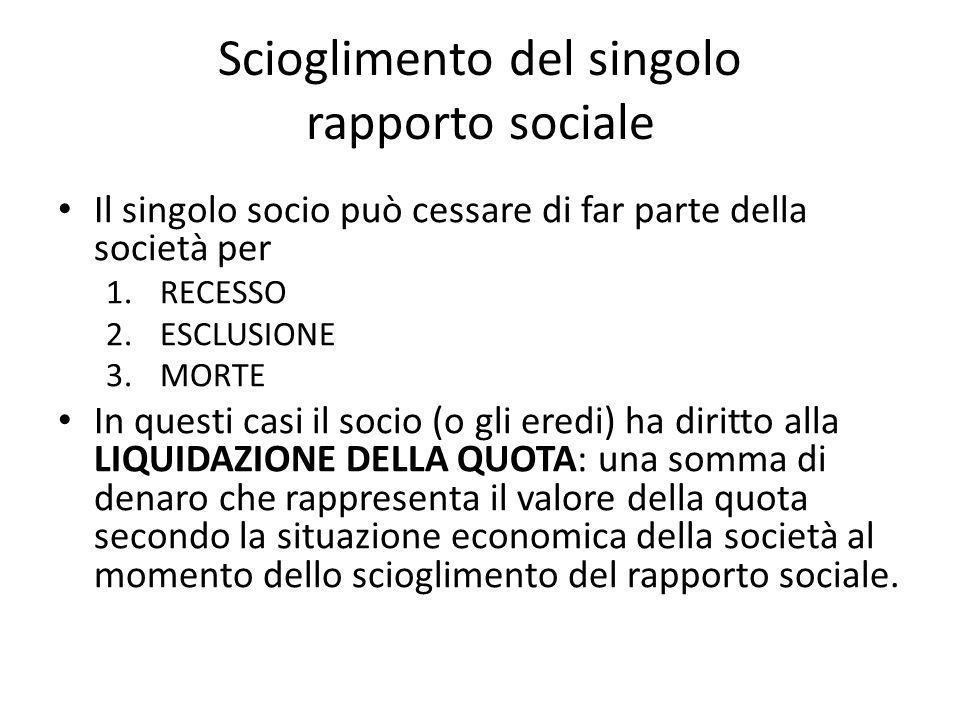 Scioglimento del singolo rapporto sociale Il singolo socio può cessare di far parte della società per 1.RECESSO 2.ESCLUSIONE 3.MORTE In questi casi il